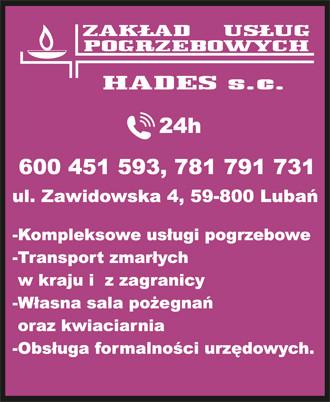 Zakład Pogrzebowy Hades S.C. 24/h 600451593, 781791731