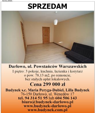 mieszkanie w Darłowie, przy ul. Pow. Warszawskich za 299 000 zł: